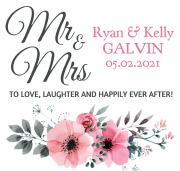 6Pk Mr & Mrs Floral Beer Label