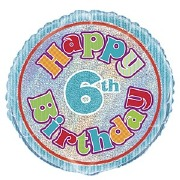 6th Birthday Foil Balloon