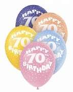 70th Birthday Helium Balloons