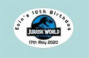 8Pk Personalise Jurassic Label