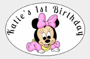 8PK Baby Girl Birthday Label
