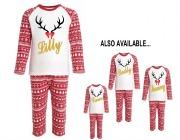 Personalise Girls Reindeer PJs