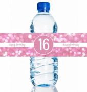 4PK Sparkle Bday Bottle Labels
