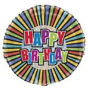Striped Birthday Foil Balloon