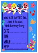 Baby Shark Personalised Invite