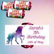 Birthday Unicorn Lovehearts
