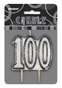 Black 100th Birthday Candle