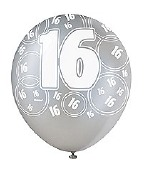 Black 16th Birthday Balloons