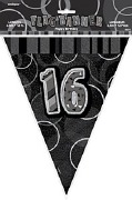 Black 16th Birthday Bunting