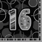 Black 16th Birthday Napkins