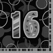 Black 16th Birthday Napkins
