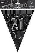 Black 21st Birthday Bunting
