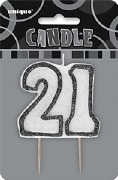 Black 21st Birthday Candle