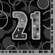 Black 21st Birthday Napkins