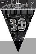 Black 30th Birthday Bunting