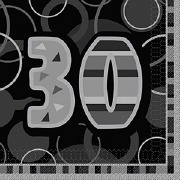 Black 30th Birthday Napkins