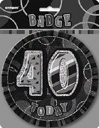 Black 40th Birthday Badge