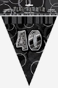 Black 40th Birthday Bunting