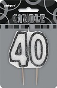 Black 40th Birthday Candle