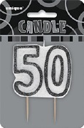 Black 50th Birthday Candle