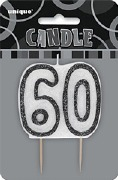 Black 60th Birthday Candle