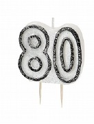 Black 80th Birthday Candle