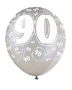 Black 90th Birthday Balloons
