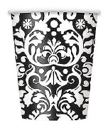 Black Damask Party Cups