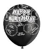 Black Happy Birthday Balloons
