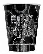 Black Happy Birthday Cups