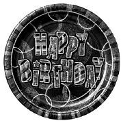 Black Happy Birthday Plates