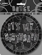 Black Its My Birthday Badge