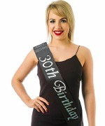 Black 30th Birthday Sash