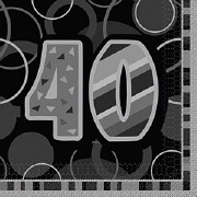 Black 40th Birthday Napkins