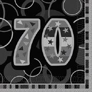 Black 70th Birthday Napkins