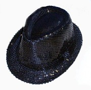 Black Sequin Gangster Hat