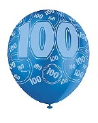 Blue 100th Birthday Balloons