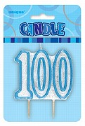 Blue 100th Birthday Candle