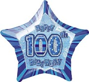 Blue 100th Star Foil Balloon