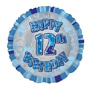 Blue 12th Birthday Balloon
