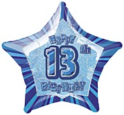 Blue 13th Star Foil Balloon