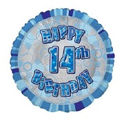 Blue 14th Birthday Balloon