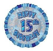 Blue 15th Birthday Balloon