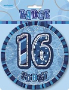 Blue 16th Birthday Badge