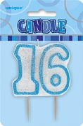Blue 16th Birthday Candle