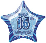 Blue 16th Star Foil Balloon