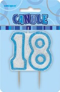 Blue 18th Birthday Candle