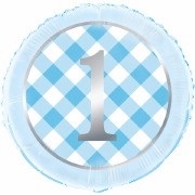 Blue Gingham 1st Foil Balloon