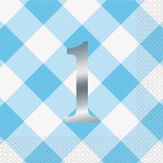 Blue Gingham 1st Party Napkins