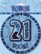 Blue 21st Birthday Badge